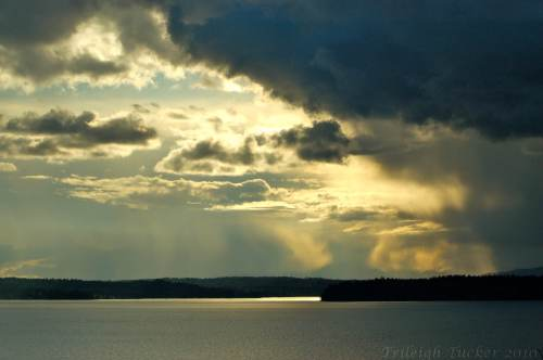 Dramatic dark clouds over Salish Sea (Puget Sound)