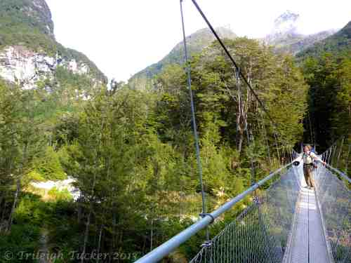 Rob on swinging bridge over the Route Burn (river)