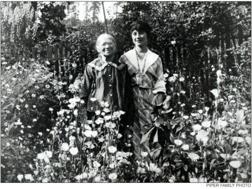 Minna Piper, on left. Undated photo (click for Seattle Times publication info).