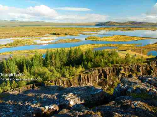Thingvellir Rift Valley, Iceland, looking north. North American Plate is on the left, moving west; Eurasian Plate is on the right, moving east.